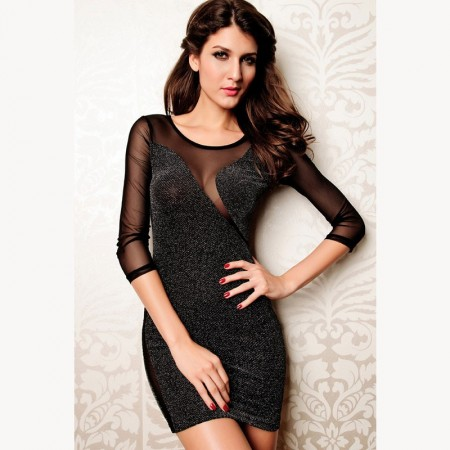 Sexy Glitter Bodycon Dress Women's Short in Black Mesh