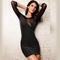 Vestido Sexy Glitter Bodycon Feminino Curto em Malha Preto