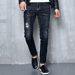 Calça Jeans Masculina Elástica Rasgos Desgastes Moda Jovens