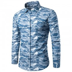 Men's T-Shirt Military Skeleton Camouflage New Blue Long Sleeve Fashion