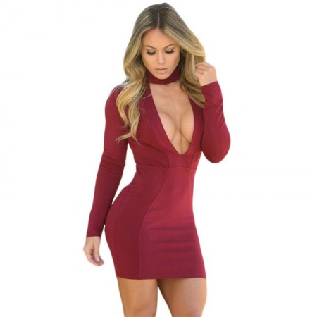 Neckline Dress Deep Wine Party Short Long Sleeve Cheap