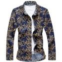 Men's Blue Skeleton Shirt Summer Casual Style Modern
