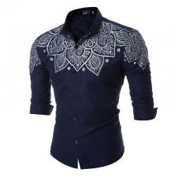 Camisa Casual Masculina Moda Verão Estampada Manga Longa