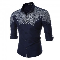 Men's Casual Shirt Fashion Summer Printed Long Sleeve