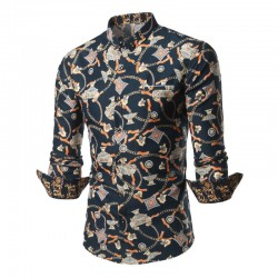 Stylish Men's Print Shirt Designs Long Sleeve Casual
