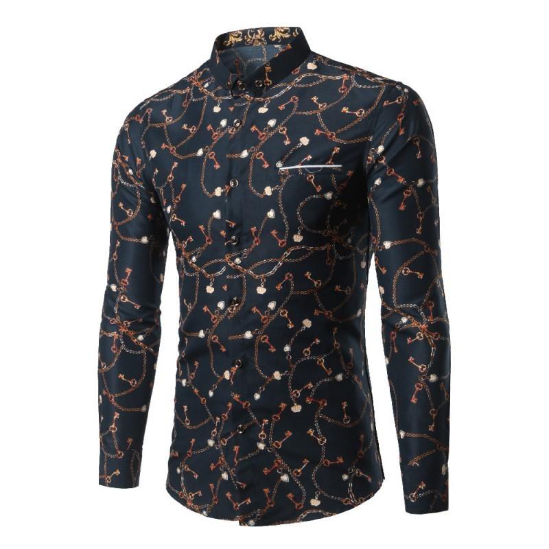 2067e42f9e Camisa Elegante Masculina Estampada Desenhos Manga Longa Casual. Loading  zoom