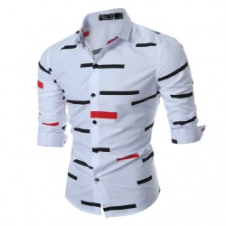 Social Print Shirt Colored Stripes Ballad Button Long Sleeve