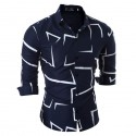 Social Shirt Shawn Mendes Navy Blue Long Sleeve Geometric Show