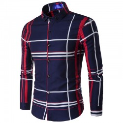 Social Checkered Long Sleeve Blue Striped Button Shirt Elegant