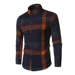 Men's Casual Shirt Chess Flannel Button Long Sleeve
