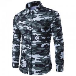 Camisa Manga Longa Estampa Militar Camufalagem Masculina Casual