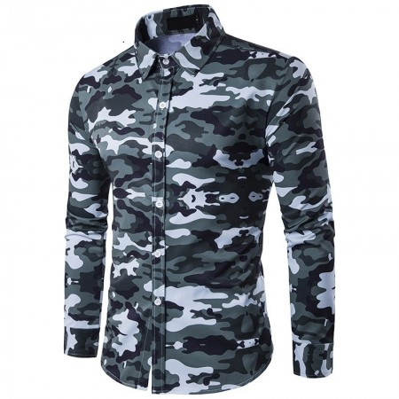 Long Sleeve Military Camouflage Print Men's Casual Shirt
