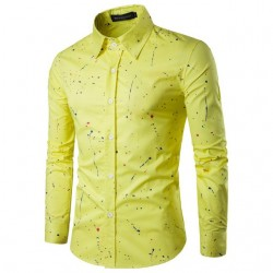 Men's Casual Shirt Smear Effect and Colorful Ink Splash