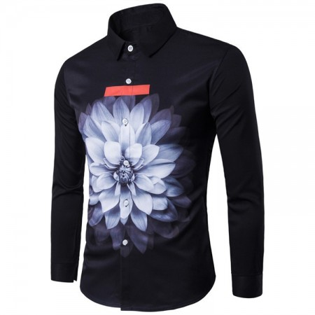 Men's Black Shirt Print Lotus Flower Blue Iphone 7 Long Sleeve