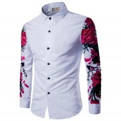 Camisa Casual Manga Longa de Botão Floral Masculina Festa Balada