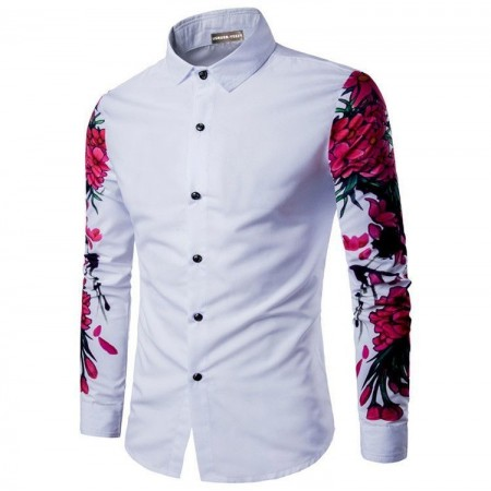 Casual Shirt Long Sleeve Floral Button Male Party Ballad