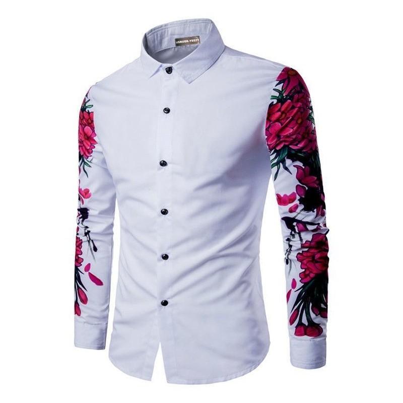 36510329b9 Camisa Casual Manga Longa de Botão Floral Masculina Festa Balada