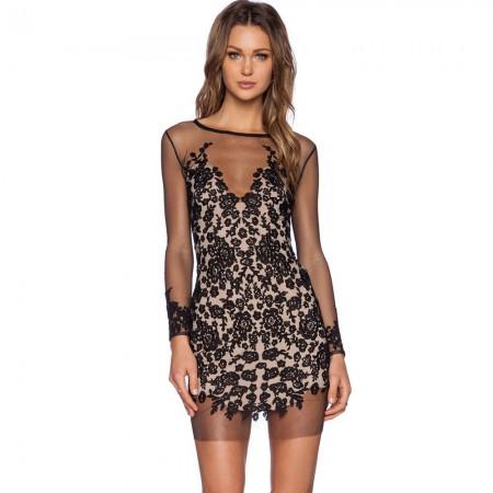Transparent Dress Black Short Long Sleeve Party