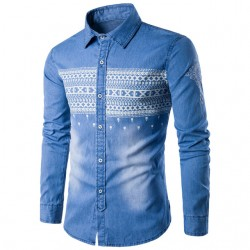 Men's Jeans Print Washed Long Sleeve Jacket