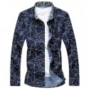 Camisa Geometrica Masculina Casual Manga Longa de Botão