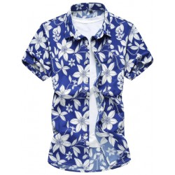 Camisa Casual Masculina de Férias Havaiana Manga Curta Moda Praia Flor