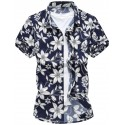 Casual Men's Casual Shirt Hawaiian Short Sleeve Beach Flower Fashion
