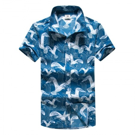 Men's Beach Shirt Blue Short Sleeve Printed Sea Button