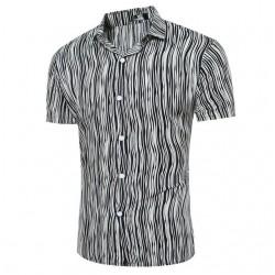 Men's Beach Shirt Blue Short Sleeve Printed Button MarCamisa