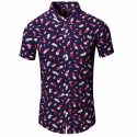 Men's Beach Shirt Printed Feather Short Sleeve Stylish Club