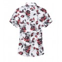 Floral Shirt Masculian Roses Short Sleeve Button Beach Fashion