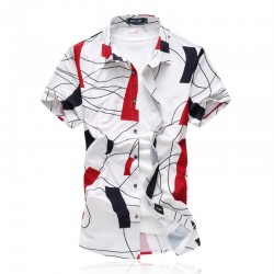Men's Social Shirt Short Sleeve Printed Party Ballad