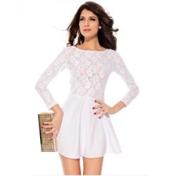 Vestido Branco Floral Elegante Curto Manga Longa