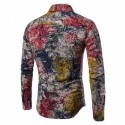 Casual Shirt Absinthe Effect Ink Stains Long Sleeve Club Party
