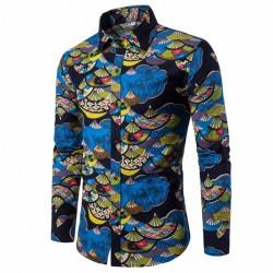 Camisa Casual Abstrada Efeito Manchas de Tinta Manga Longa Festa Club