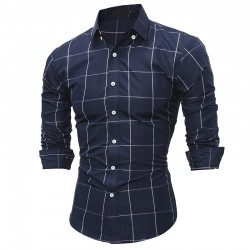 Checked Slim Fit Men's Shirt Long Sleeve