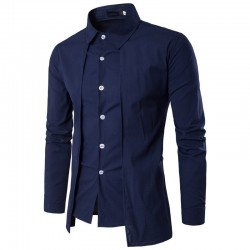 Men's Smooth Shirt Asymmetric Mandarin Long Sleeve Button