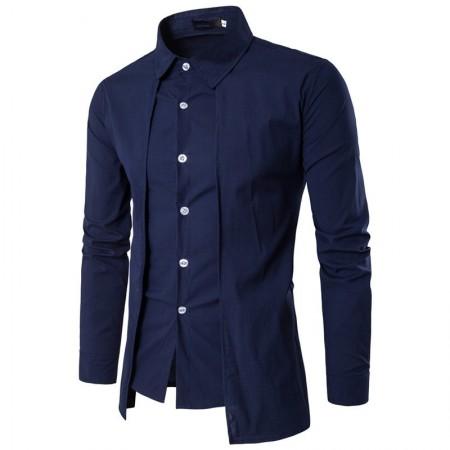 Men's Smooth Shirt Asymmetric Mandarin Long Sleeve Button
