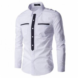 Men's Military Social Shirt Formal Elegant Long Sleeve