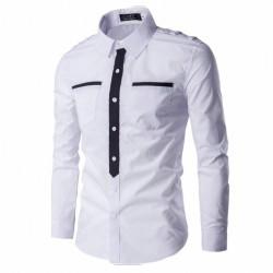 Men's Military Social Shirt Formal Elegant Long Sleeve