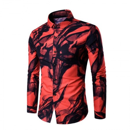 Shirt Futuristic Party Haver Men's Night Manda Long Mandala Collar