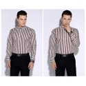 Social Shirt Male Vertical Stripes Formal Work Event Lux