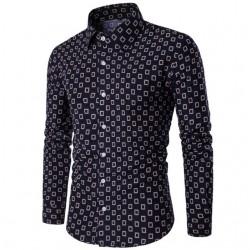 Camisa Estampada Manga Longa Casual Moderna Masculina