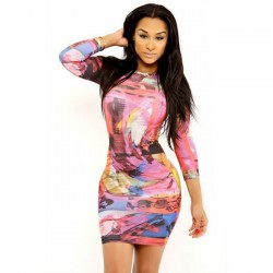Dress Colorful Printed Short Sleeve Long Casual