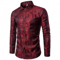 Men's Print Shirt Shiny Party Night Social Pattern