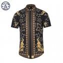 Floral Embellished Shirt Harajuku Fashion Short Sleeve