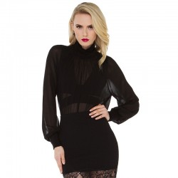 Sober Black Dress Long Sleeve Vampire