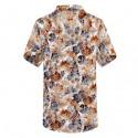 Camisa Masculina Moda Casual Estampada Verão Flores