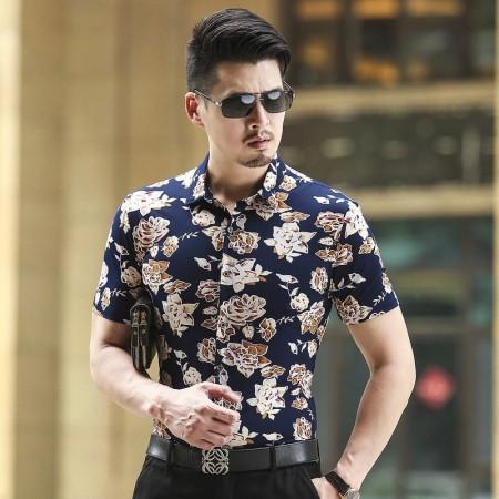 Camisa Florida Masculina Estampada Moda Havaiana Ver O Casual Escura