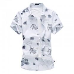 Camisa Masculina Moda Verão Casual Elegante Floral Praia Avaiana