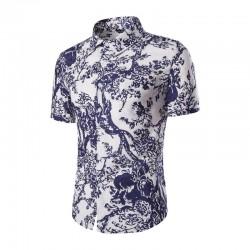 Camisa Masulina Estampa Flores Moderna Casual Elegante